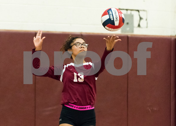 09/18/17 Wesley Bunnell | Staff New Britain girls volleyball defeated visiting Plainville on Monday evening.