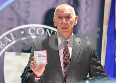 09/20/17 Wesley Bunnell | Staff  A conference was held at CCSU on Wednesday morning to announce the availability of Narcan on all 16 of the CSCU campuses by the end of the fall 2017 semester.  CSCU President Mark Ojakian holds two doses of Narcan Nasal Spray.