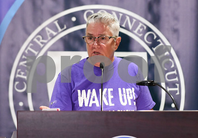 09/20/17 Wesley Bunnell | Staff  A conference was held at CCSU on Wednesday morning to announce the availability of Narcan on all 16 of the CSCU campuses by the end of the fall 2017 semester.  Activist Shawn Lang speaks to the attendees.