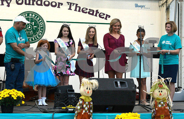 9/21/2017 Mike Orazzi | Staff The ribbon cutting ceremony during the 56th Annual Chrysanthemum Festival on opening night in Bristol Thursday.