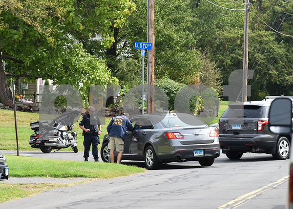 09/21/17 Wesley Bunnell | Staff Police block the intersection of Fisk & Lloyd St in Newington on Thursday morning due to a police standoff on nearby Gilbert Rd.