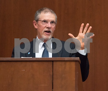 09/25/17  Wesley Bunnell | Staff  Jim Williamson jokes about being held to five minutes during his retirement speech at the New Britain Museum of American Art on Monday evening. Williamson is the retiring president of CFGNB.