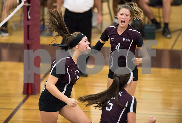 09/25/17 Wesley Bunnell | Staff Bristol Central girls volleyball vs Maloney on Monday evening at Bristol Central High School. Kathryn Ross (12), Andreia DeAngelo (4) and Brianna Saverino (5).
