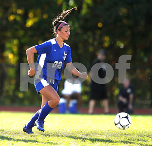 9/27/2017 Mike Orazzi | Staff Litchfield's Christina Orsini (22) during Wednesday's soccer match with Terryville at THS.