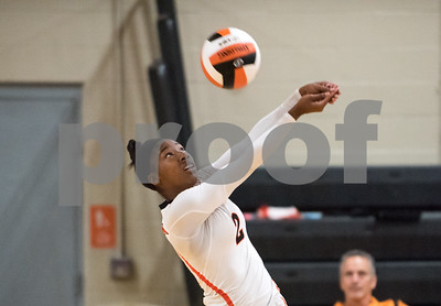 09/27/17  Wesley Bunnell | Staff  Vinal Tech vs E.C. Goodwin girls volleyball on Wednesday afternoon at E.C. Goodwin High School. Tanija Russell (2).