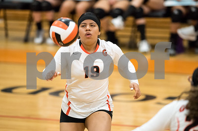 09/27/17  Wesley Bunnell | Staff  Vinal Tech vs E.C. Goodwin girls volleyball on Wednesday afternoon at E.C. Goodwin High School. Teresa Lopez (19).