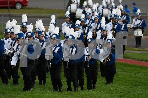 9/28/2017 Mike Orazzi | Staff The Bristol Eastern High School Marching Band at the start of Thursday night's football game with Newington in Bristol.