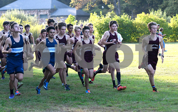 9/26/2017 Mike Orazzi | Staff The start of the boys cross country meet between Bristol Central and Middletown held in Rockwell Park Tuesday afternoon.