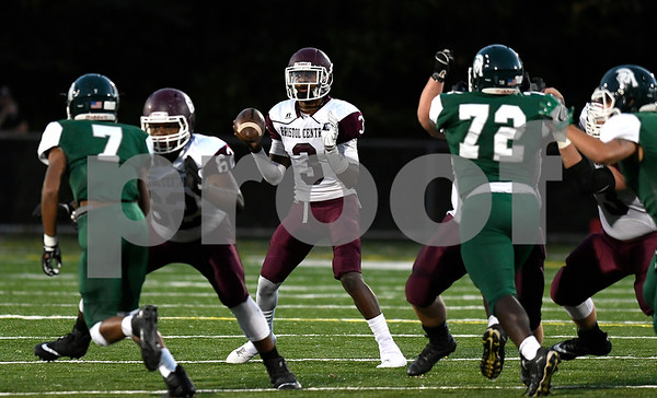 9/29/2017 Mike Orazzi | Staff Bristol Central's Dathan Hickey (3) at Falcon Field in Meriden Friday night.