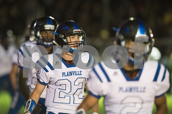 09/29/17 Wesley Bunnell | Staff Plainville football vs Northwest Catholic in West Hartford on Friday night. Lining up for the kick off to the second half are Brady Callahan (22) and Edgar Wynkoop (2).