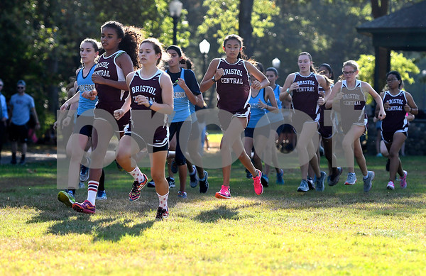 9/26/2017 Mike Orazzi | Staff The start of the girls cross country meet between Bristol Central and Middletown held in Rockwell Park Tuesday afternoon.