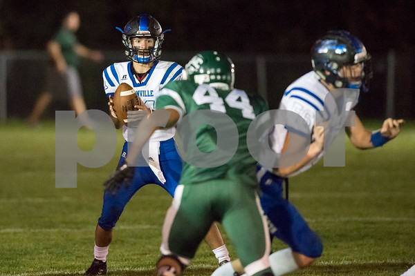 09/29/17 Wesley Bunnell | Staff Plainville football vs Northwest Catholic in West Hartford on Friday night. QB Frank Griffin (11).