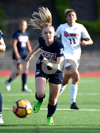9/1/2017 Mike Orazzi | Staff UConn's Zoe Steck (15) during the CCSU Soccer Tournament in New Britain Friday evening.