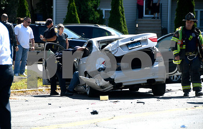 9/1/2017 Mike Orazzi | Staff The scene of a two car crash at the intersection of South and Willis Streets in Bristol Friday afternoon. One person was transported from the scene with minor injuries.