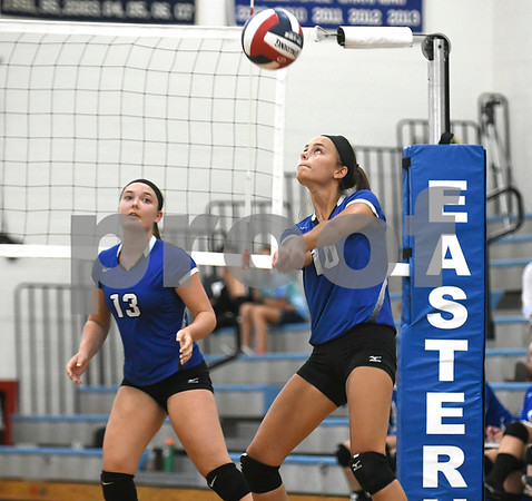 9/13/2017 Mike Orazzi | Staff Southington's Stepanie Zera (13) and Jenna Martin (10) Wednesday night.