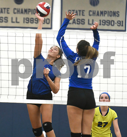9/13/2017 Mike Orazzi | Staff Southington's Erica Bruno (6) and Bristol Eastern's Gabriella Nozzolillo (17) Wednesday night.