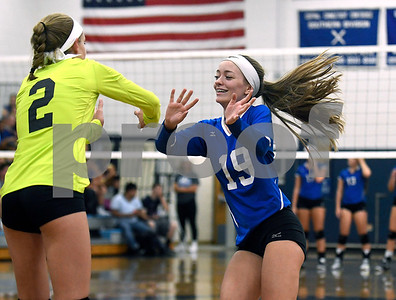9/13/2017 Mike Orazzi | Staff Bristol Eastern's Paige McLaughlin (2) and Amber Blais (19) Wednesday night.