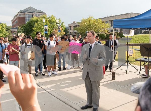 09/14/17 Wesley Bunnell | Staff A rally was held at CCSU on Thursday afternoon in support of DACA. the Deferred Action for Childhood Arrivals policy was established by the Obama administration in June 2012 and recently rescinded by the Trump administration. Candidate for New Britain Common Council Bobby Berriault addresses the crowd.