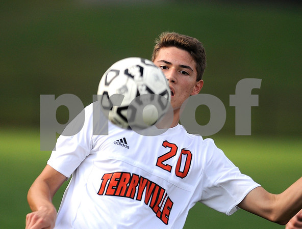 9/14/2017 Mike Orazzi | Staff Terryville's Kyle Miranda (20) during boys soccer in Plymouth Thursday.