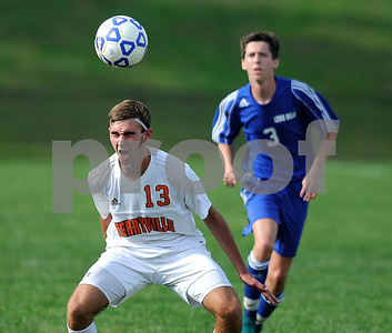9/14/2017 Mike Orazzi   Staff Terryville's Adam Pelz (13) during boys soccer in Plymouth Thursday.