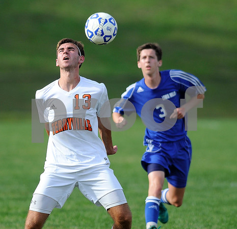 9/14/2017 Mike Orazzi | Staff Terryville's Adam Pelz (13) during boys soccer in Plymouth Thursday.