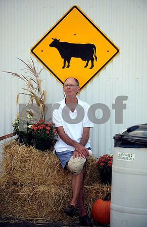 9/16/2017 Mike Orazzi | Staff David Elsy sits in the shade near the cattle barn while at the Berlin Lions Club Fair Saturday.