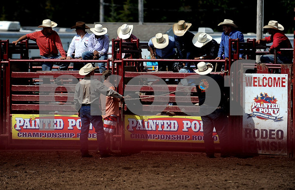 9/16/2017 Mike Orazzi | Staff Bull riders wait for the gate to open during the Berlin Lions Club Fair Saturday.