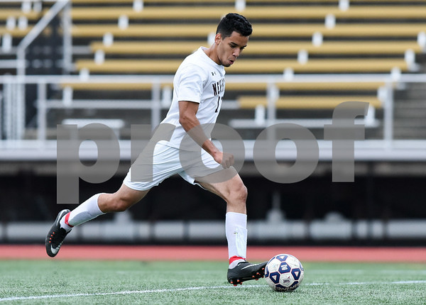 09/19/17 Wesley Bunnell | Staff Bristol Eastern boys soccer defeated New Britain 7-0 on Tuesday afternoon at Veteran's Stadium in New Britain. New Britain's Joao Perdo Coelho (11).