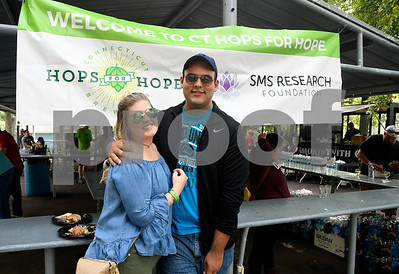 9/2/2017 Mike Orazzi | Staff Tiffany Wood and Luke Lamare while at the 2nd CT Hops for Hope beer festival held at Falcon Field in New Britain Saturday.