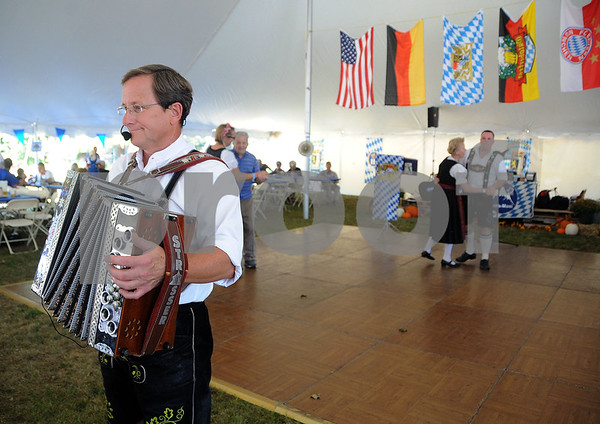 9/23/2017 Mike Orazzi | Staff Schachtelgebirger Musikanten's Freddie Meier performs during the St. Peter Church Oktoberfest in New Britain Saturday.