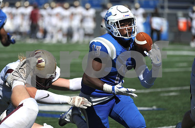 9/23/2017 Mike Orazzi | Staff CCSU's Najae Brown (13) during Saturday's football game with in New Britain.