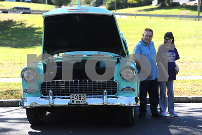 9/23/2017 Mike Orazzi | Staff Joe Dragon and his daughter Annmarie with Joe's 55 Chevy 150 during the 56th Annual Chrysanthemum Festival on Saturday in Bristol