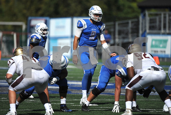 9/23/2017 Mike Orazzi | Staff CCSU's Jacob Dolegala (9) during Saturday's football game with in New Britain.