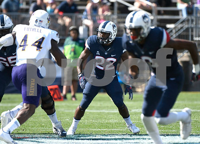 9/24/2017 Mike Orazzi | Staff UConn Arkeel Newsome (22) during Sunday's football game with East Carolina State University at Rentschler Field in East Hartford.