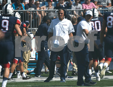 9/24/2017 Mike Orazzi | Staff UConn Football Head Coach Randy Edsall during Sunday's football game with East Carolina State University at Rentschler Field in East Hartford.