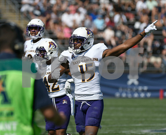 9/24/2017 Mike Orazzi | Staff East Carolina State University's Korrin Wiggins (15) at Rentschler Field in East Hartford Sunday.