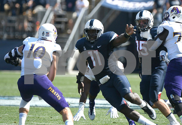 9/24/2017 Mike Orazzi | Staff UConn's Junior Joseph (11) during Sunday's football game with East Carolina State University at Rentschler Field in East Hartford.