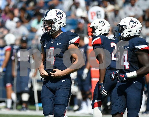 9/24/2017 Mike Orazzi | Staff UConn's Bryant Shirreffs (4) during Sunday's football game with East Carolina State University at Rentschler Field in East Hartford.