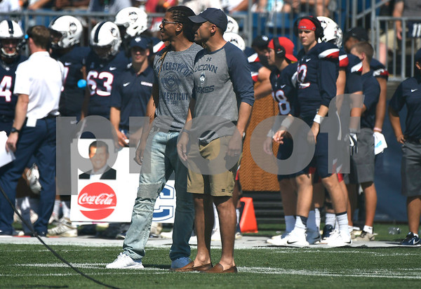 9/24/2017 Mike Orazzi | Staff Fromer UConn Huskie D.J. Hernandez honored during Sunday's football game with East Carolina State University at Rentschler Field in East Hartford.