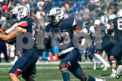 9/24/2017 Mike Orazzi | Staff UConn's Keyion Dixon (23) during Sunday's football game with East Carolina State University at Rentschler Field in East Hartford.
