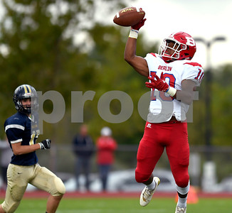 9/30/2017 Mike Orazzi | Staff Berlin's Larry St. Pierre Jr. (10) during Saturday's football game in Hebron.