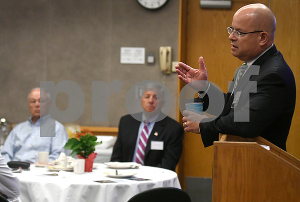 9/7/2017 Mike Orazzi | Staff Bristol Hospital President and CEO Kurt Barwis during the President's Forum Thursday morning.