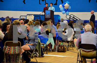 5/19/2015 Mike Orazzi | Staff Devin and Spencer Roberge give the invocation during the Bristol Boys & Girls Club's 74 Annual Recognition Dinner inside the Fiondella Field House Wednesday night.