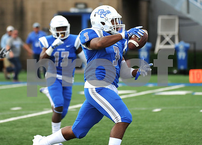 9/9/2017 Mike Orazzi | Staff CCSU's Tymir Hinton (3) during Saturday's game with Fordham in New Britain.