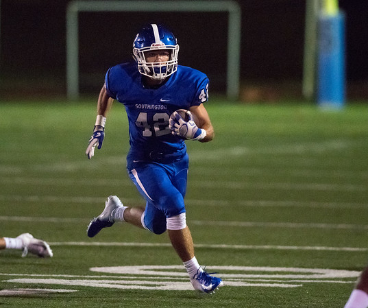 09/07/18 Wesley Bunnell | Staff Southington football defeated Glastonbury Friday night at Southington High School. RB Dillon Kohl (42).