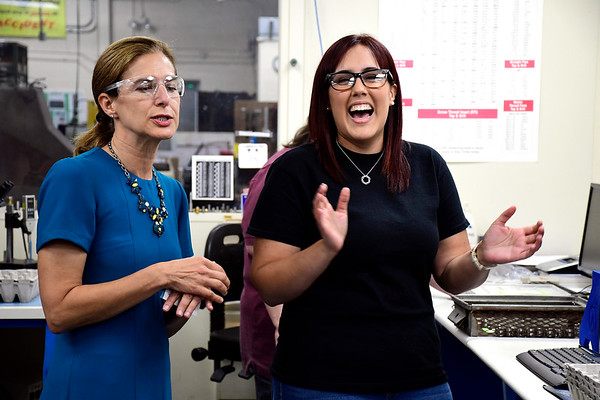 9/7/2018 Mike Orazzi | Staff Lt. Governor Candidate Susan Bysiewicz talks with Vanessa Rivera during a tour of the DaCruz Manufacturing in Bristol Friday.