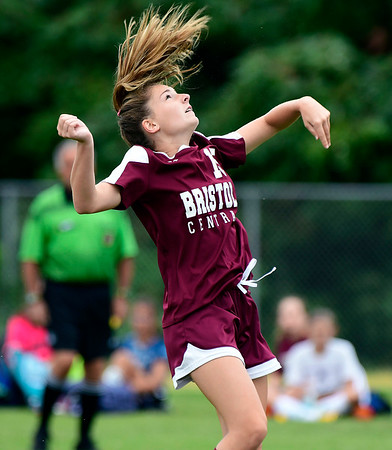 9/7/2018 Mike Orazzi | Staff Bristol Central's Lily Hanson (15) during Friday's soccer at BC.
