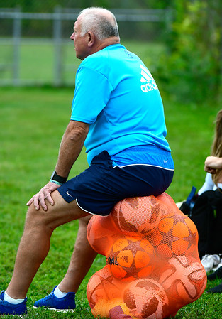 9/7/2018 Mike Orazzi | Staff Plainville Girls Soccer Coach Leszek Wrona during Friday's soccer at BC.