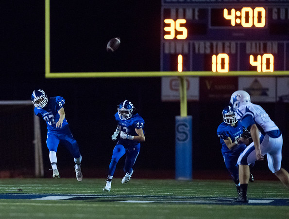 09/07/18 Wesley Bunnell | Staff Southington football defeated Glastonbury Friday night at Southington High School. Kicker Evan Johanns (87).