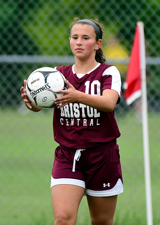 9/7/2018 Mike Orazzi | Staff Bristol Central's Bella Bosco (10) during Friday's soccer at BC.